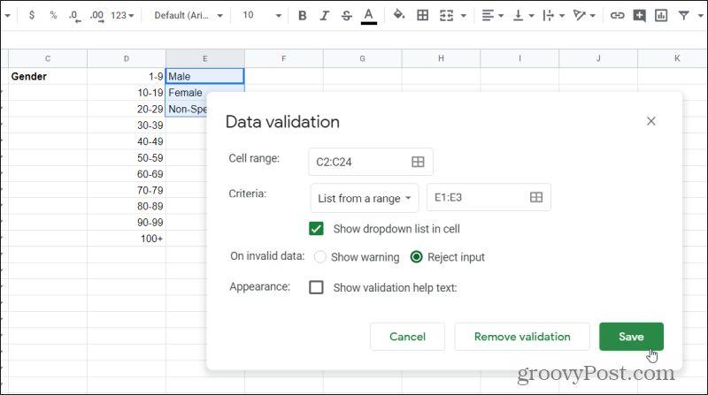 gender data validation