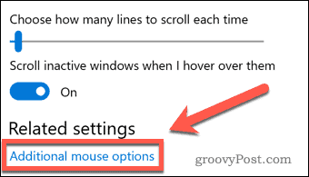 Windows Additional Mouse Options Link