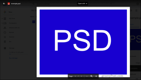 Opening a PSD file in Google Drive