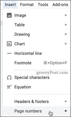 Google Docs Page Numbers menu