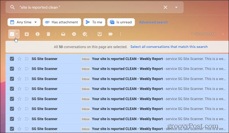 selecting emails in gmail