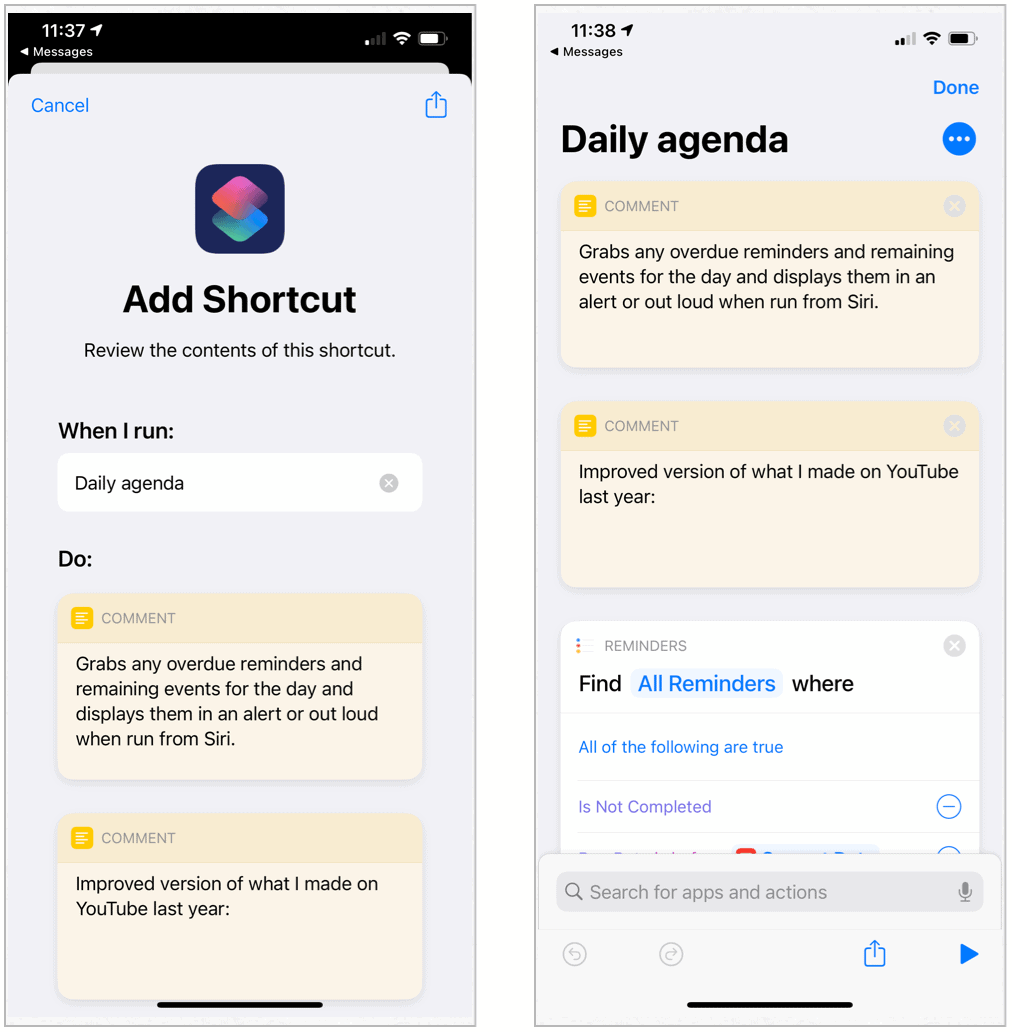 Siri Shortcuts Daily Agenda