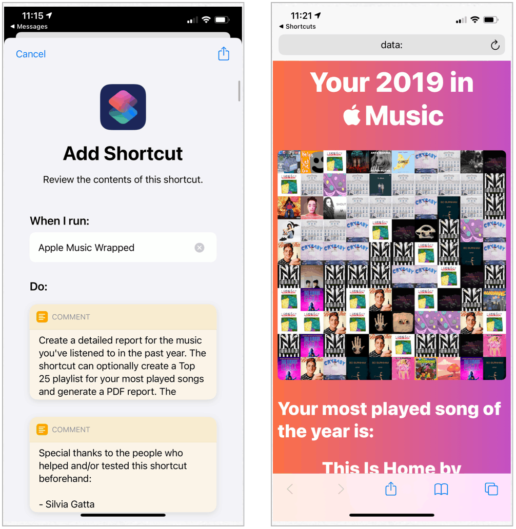 Siri Shortcuts Favorite Songs