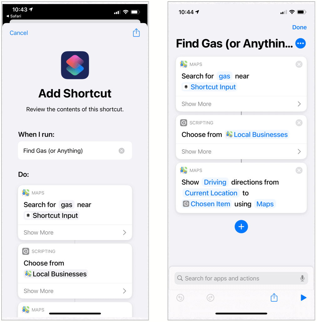 Siri Shortcuts Find Gas Stations
