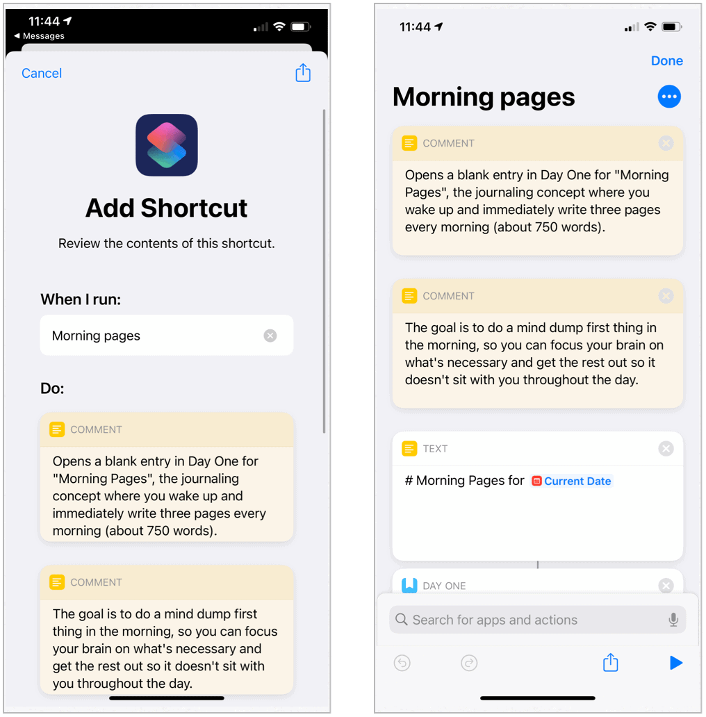 Siri Shortcuts Morning Pages
