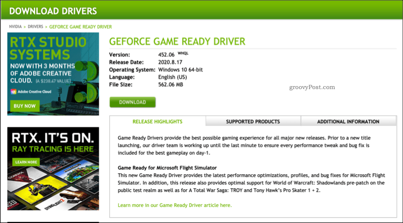 Example NVIDIA driver download