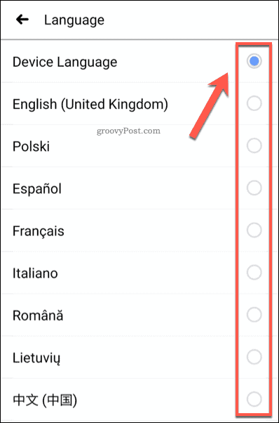 Set Facebook Language setting on mobile