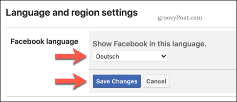 Saving a new Facebook Language