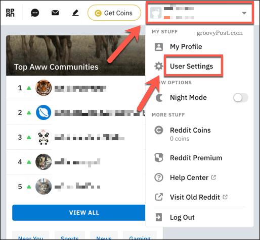 The Reddit account drop down menu