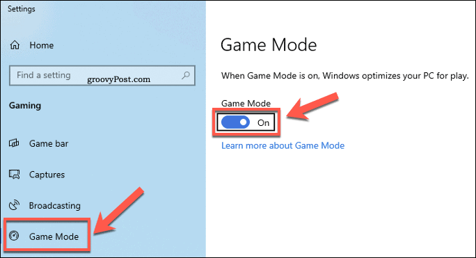 Windows Settings Game Mode Menu
