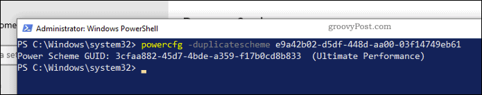 Enable Ultimate Performance Plan in Windows PowerShell