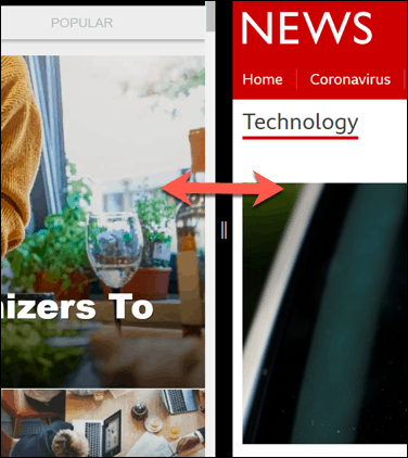 Windows Snap Assist middle border
