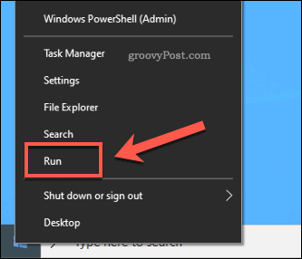 Windows Start Run Option