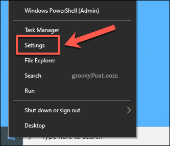 Windows Start Settings Menu