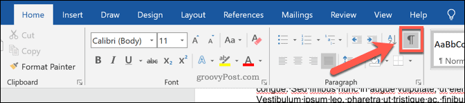 Word Paragraph Marks symbol