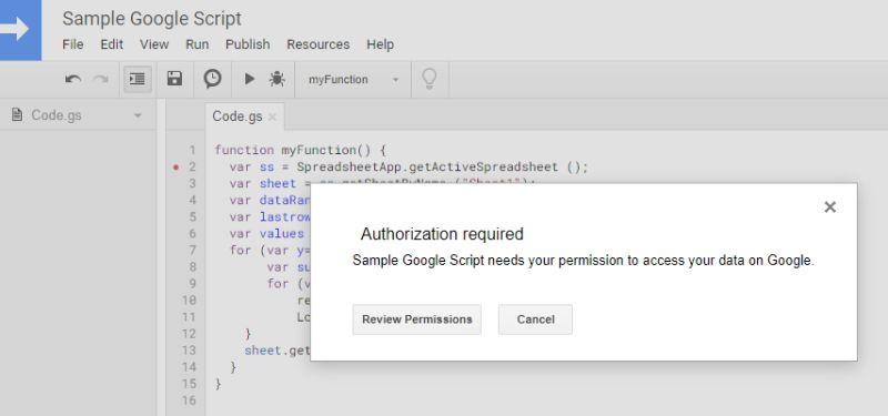 google script authorization