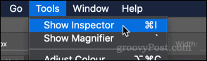 Show Inspector option in macOS Preview app