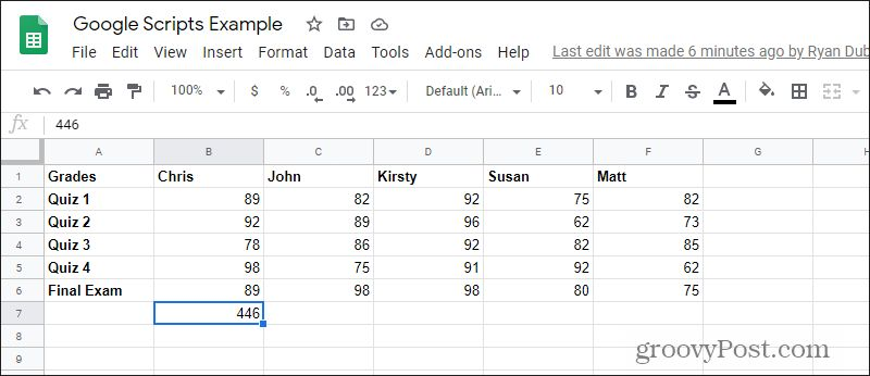 google script results