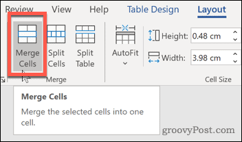 Word Merge Cells button