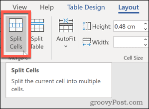 Word Split Cells button
