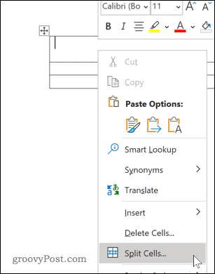 Word Split Cells dialog options