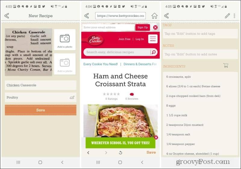 importing recipes in organizeat