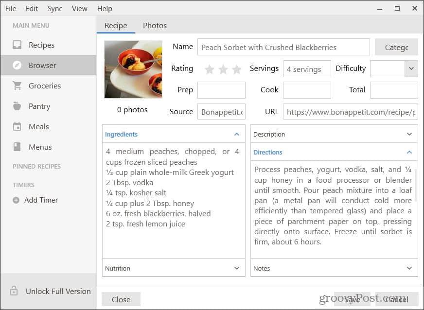 downloaded recipe in paprika desktop