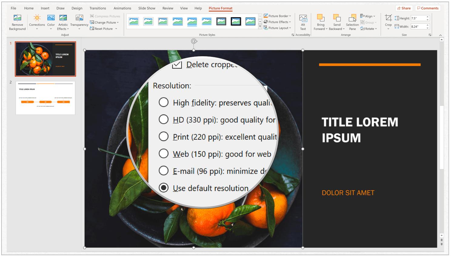 PowerPoint choose resolution Windows