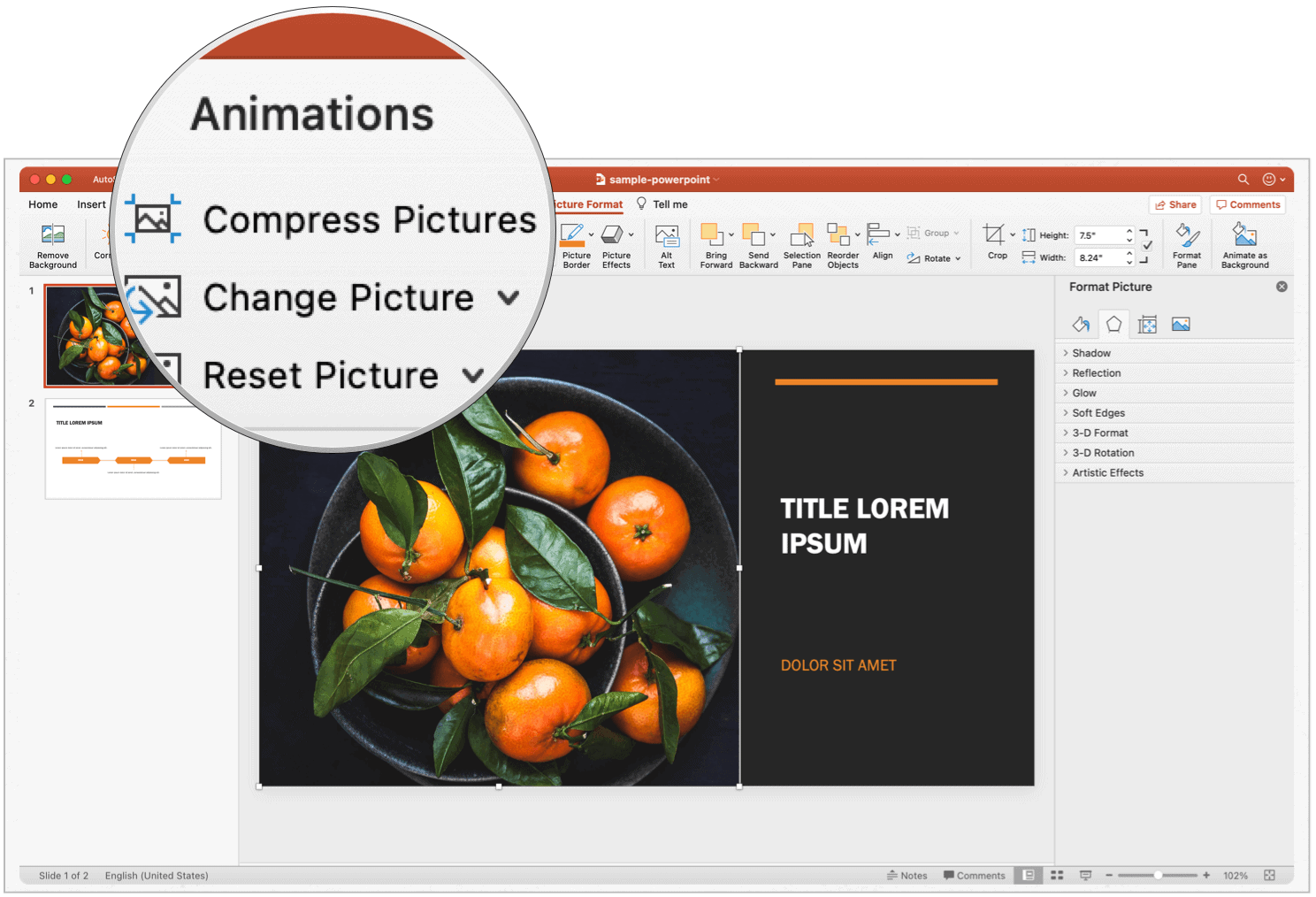 PowerPoint Mac compress pictures