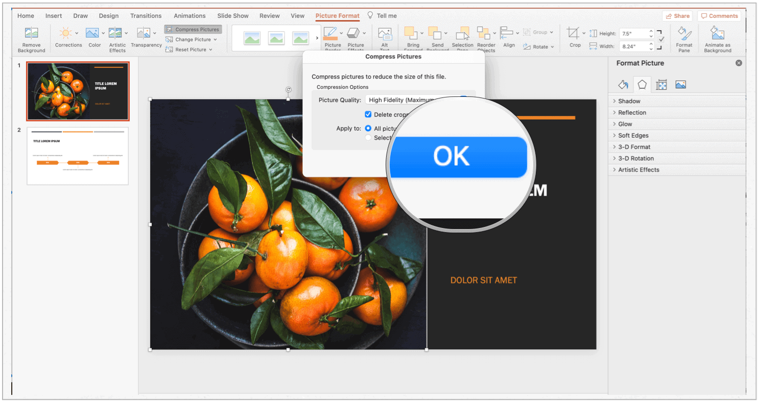 PowerPoint Mac compress selection