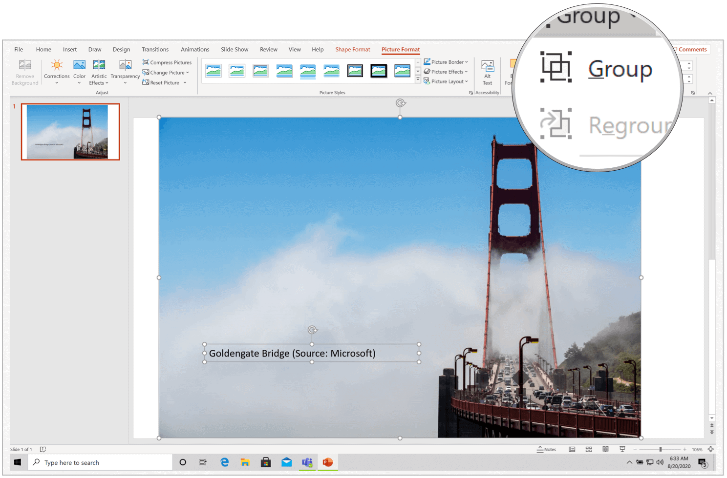 Microsoft PowerPoint for Windows insert caption