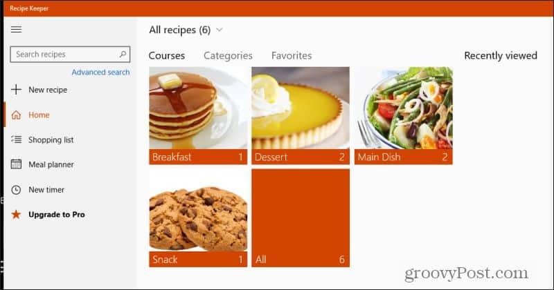 recipe keeper main page
