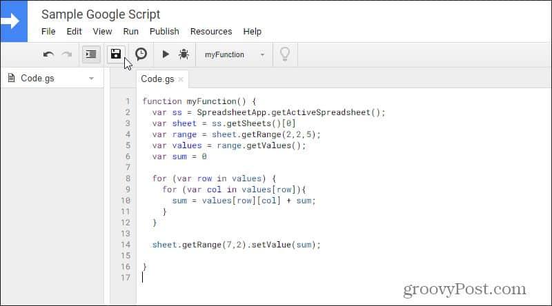 saving google script