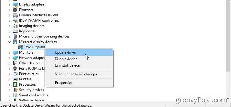 updating miracast driver