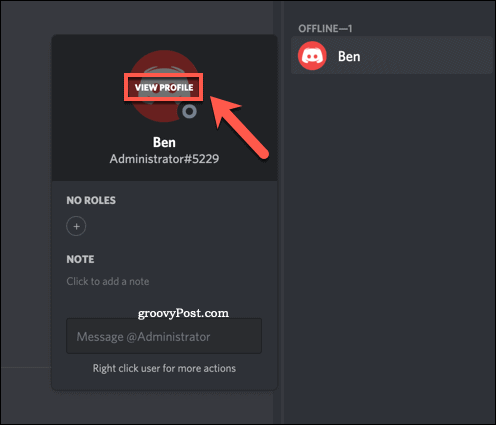 Viewing a user profile on Discord