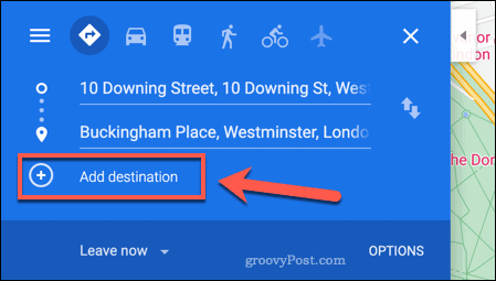 Adding a new destination to a Google Maps route map
