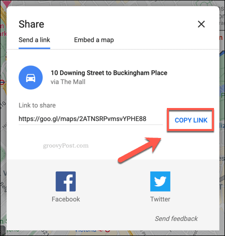 Copying a Google Maps sharing link