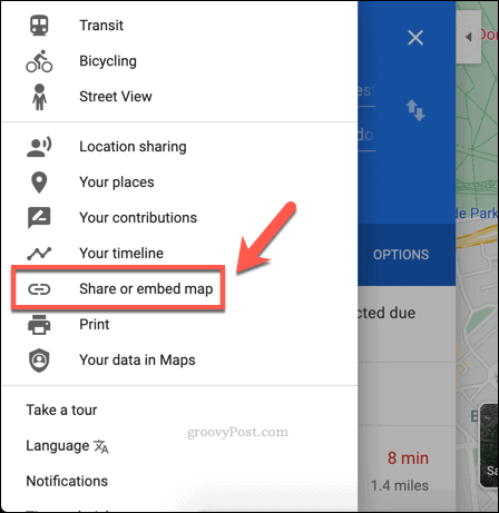 Creating a Google Maps sharing link