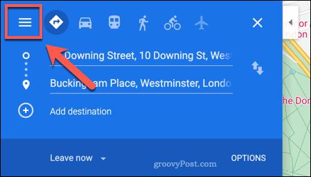Accessing the Google Maps menu