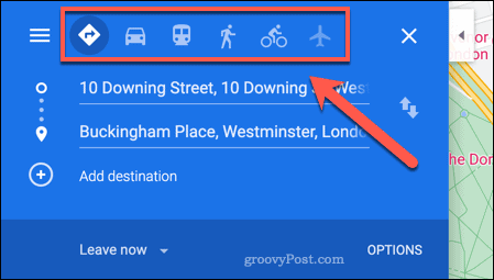 Travel options in Google Maps