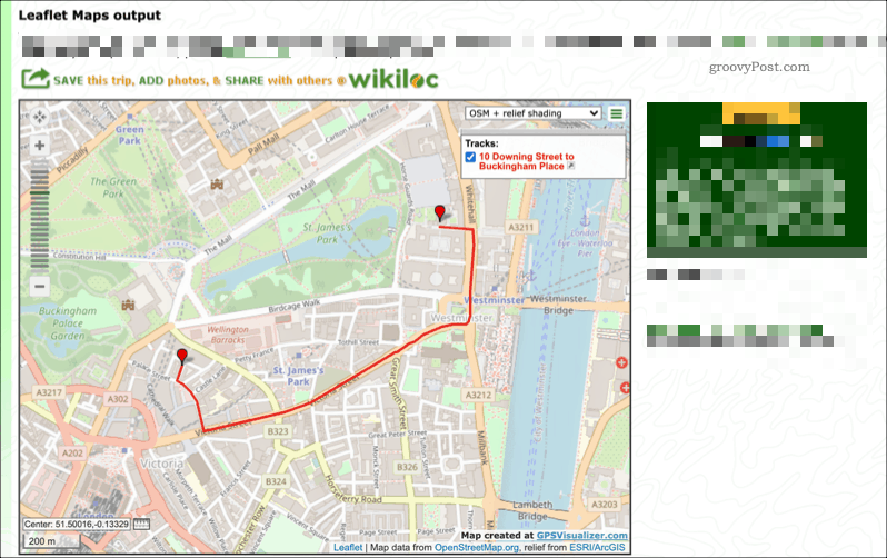 An example map created using the GPS Visualizer service