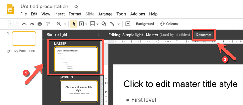 Renaming a Google Slides template