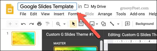 Saving a new Google Slides template
