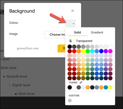 Adding a background color to a master slide in Google Slides