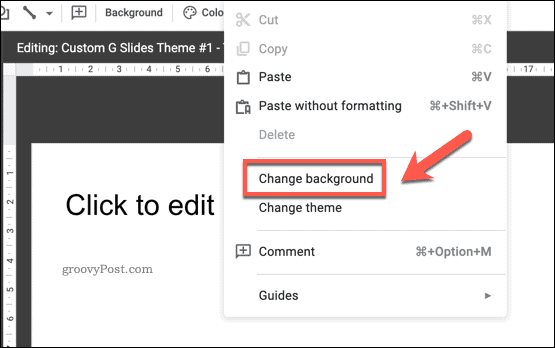 Changing the background of a Google Slides template slide