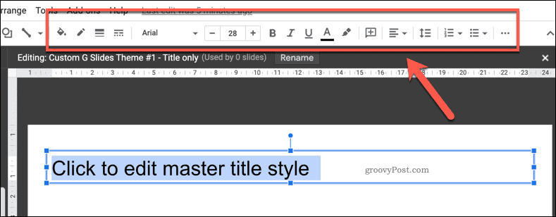 Options for customizing a template text box in Google Slides