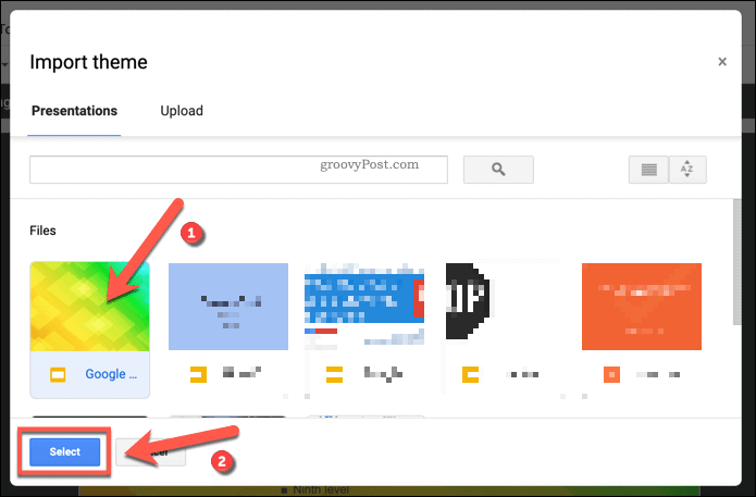 Importing an existing template theme into a Google Slides presentation