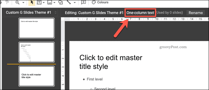 The name of a slide layout in the Google Slides master view