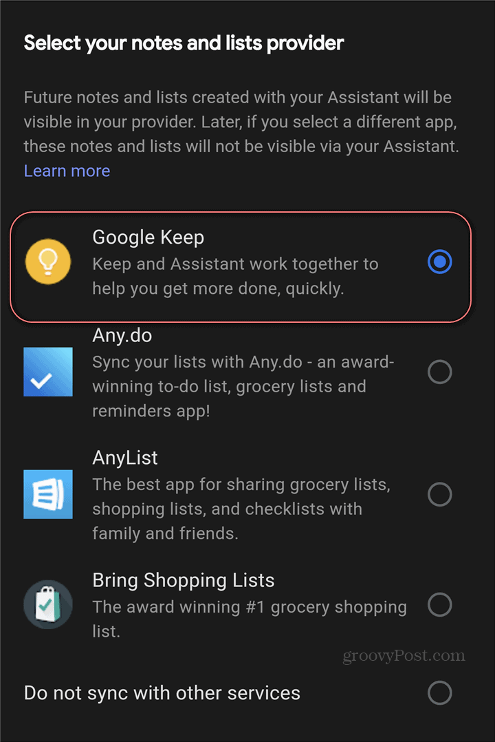 Google Assistant Google Keep settings notes provider