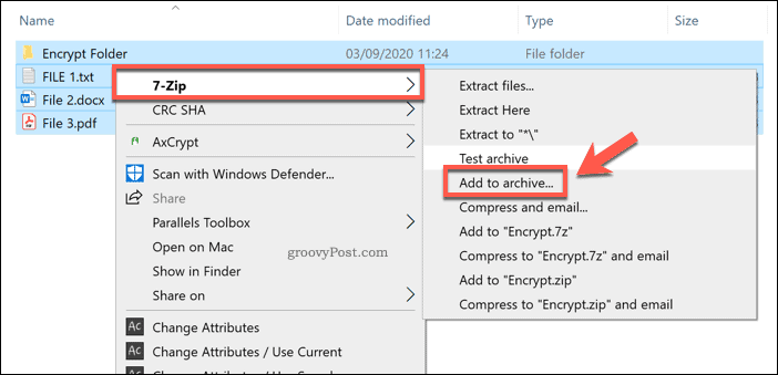 Adding to a new 7-Zip archive in Windows 10